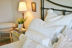 The Farmhouse Porch: The Master Bedroom Country Cottage Bedroom, Cottage Style, Cottage Bedrooms, Closet Bedroom, Master Bedroom, Residential Real Estate, First Time Home Buyers, White Bedding, Bed Pillows