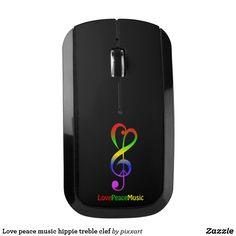 Love peace music hippie treble clef wireless mouse