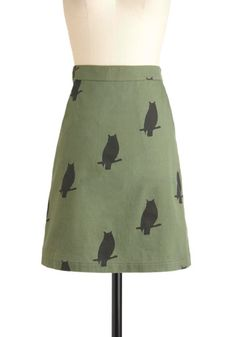 The Greatest Skirt of Owl by Knitted Dove - Cotton, Mid-length, Green, Black, Pockets, Owls, A-line, Print with Animals, Casual