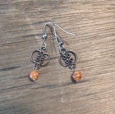 Orange Stripped Earrings Beaded Handmade by TheHippieBohemian
