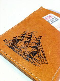 Leather card wallet handprinted custom ship. $14.00, via Etsy.