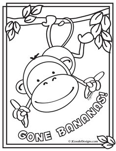 monkey gone bananas coloring page printables for kids free word search puzzles coloring
