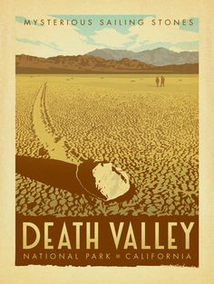 Death Valley National Park - Anderson Design Group has created an award-winning series of classic travel posters that celebrates the history and charm of America's greatest cities and national parks. Founder Joel Anderson directs a team of talented Nashville-based artists to keep the collection growing. This adventurous print features the mysterious Sailing Stones.<br />