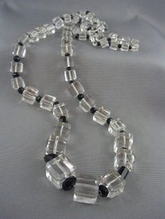Art Deco 1920s Flapper Bead Necklace Graduated Crystal Cubes Black Round Spacers /95