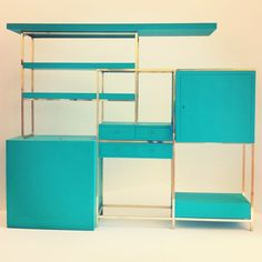 Wall unit (mcm, midcentury, teal, aqua, design, decor, home, house, modern, furniture)