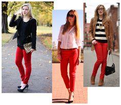look calça vermelha - Pesquisa Google