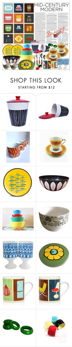 """Mid Century Modern"" by marionmeyer ❤ liked on Polyvore featuring interior, interiors, interior design, home, home decor, interior decorating, Pyrex, Magpie & Jay, modern and midcenturymodern"