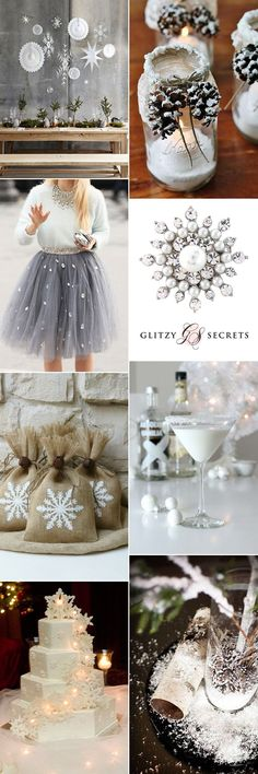 Beautiful ideas for a snowflake wedding theme on GS Inspiration - Glitzy Secrets