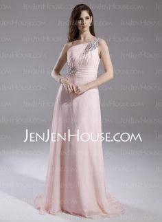 Evening Dresses - $142.49 - A-Line/Princess One-Shoulder Court Train Chiffon Evening Dress With Ruffle Beading (017015805) http://jenjenhouse.com/A-Line-Princess-One-Shoulder-Court-Train-Chiffon-Evening-Dress-With-Ruffle-Beading-017015805-g15805