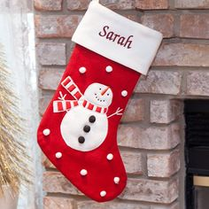 Embroidered Woven Snowman Christmas Stocking | Personalized Stockings