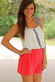 All Stitched Up Tank, White and coral scalloped shorts