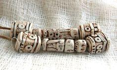 Primitive Faux Ivory Geometric Bead Set  Selena Anne Wells