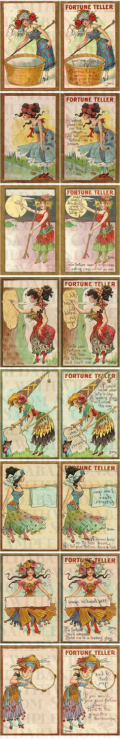fortune teller, bohemian postcards, aceo, atc, altered art, hang tag, gypsy clipart, digital tags, digital ephemera, truth card, scrapbooking, digital collage, collage sheet
