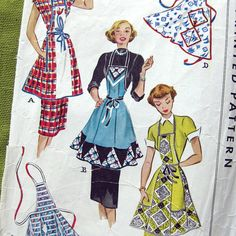 Very Rare 1950 Vintage Apron Pattern McCall 1550  by SelvedgeShop