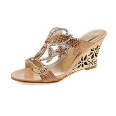 473ed4a5b10b Karenemp Shoes Summer Rhinestone Shoes Women s Peep Toe Cut-out Wedge Heel  Evening Slide Sandals