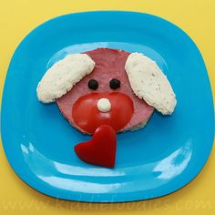#Dog with a heart ham sandwich for #kids - #funfood