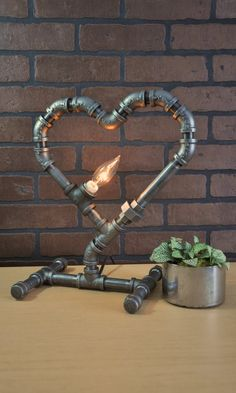 Heart Shaped Pipe Lamp For that Special Someone Table lamp Rustic home decor Desk lamp Unique Pipe lamp Industrial Pipe, Industrial Lighting, Industrial Wall Art, Industrial Furniture, Lampe Steampunk, Edison Lampe, Rustic Table Lamps, Pipe Decor, Pipe Lighting