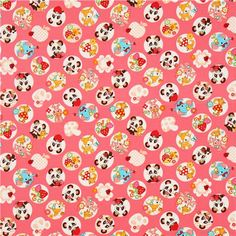 pink oxford panda animal fabric by Cosmo from Japan