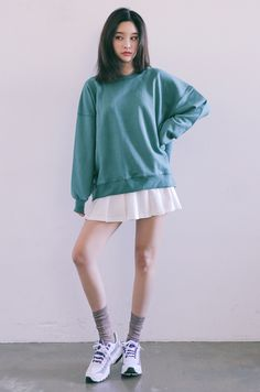 [STYLENANDA] DROPPED SHOULDER LONG SLEEVE PULLOVER