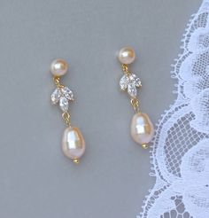 Gold Pearl Bridal Earrings by JamJewels1