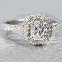 14k white gold diamond halo ring with 1.22ct Cushion cut diamond