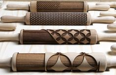 Major Lasers! Check Out This Set Of Laser-Cut Rolling Pins.  These are originally for food...but hey...don't we find most of our texture and clay tools in the kitchen?