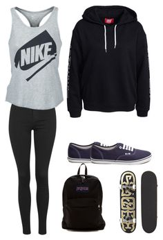 """""""Untitled"""" by futurecelebrity on Polyvore featuring Topshop, NIKE, Vans, JanSport, women's clothing, women, female, woman, misses and juniors"""