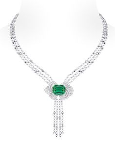 @Louis Vuitton 'Voyage dans le temps' Fleur d'éternité necklace. The central stone is a green tourmaline and the beads are gold and diamond.