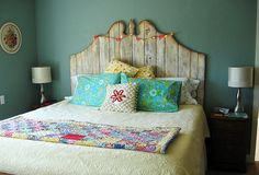 Love this headboard--handmade of old barnwood, inspired by a similar one in Sundance Catalog.    done by Modern Prairie, via Flickr