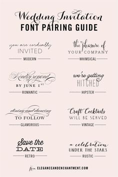 Wedding Invitation Font Pairing Guide                              …