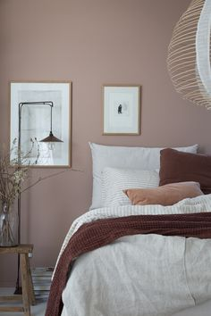 My dream bedroom update: Sandö bed from Swedish brand Carpe Diem Beds 20 Popular Bedroom Paint Colors that Give You Positive Vibes Dusty Pink Bedroom, Pink Bedroom Walls, Rose Bedroom, Bedroom Wall Colors, Bedroom Color Schemes, Dream Bedroom, Bedroom Brown, Pink And Beige Bedroom, Pink Walls
