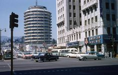 Hollywood and Vine, looking at the Capital Records Building in the 1950s.