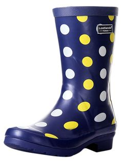 Ace Women's Girls Polka Waterproof Pull-on Work Fashion Rain Boot ** Click on the image for additional details.