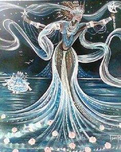 Yemoja the Yemaya_Diosa_del_Mar shrine Yemaya Orisha, Star Goddess, Black Goddess, Black Women Art, Black Art, Yoruba Orishas, African Mythology, Yoruba Religion, Moon Art