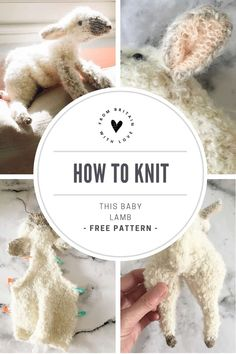 How to knit a lamb baby sheep. Click through for easy step by step tutorial and free knitting. - How to knit a lamb baby sheep. Click through for easy step by step tutorial and free knitting patte - Free Knitting, Baby Knitting, Knitted Baby, Finger Knitting, Knitting Toys, Vintage Knitting, Knitted Dolls, Crochet Toys, Knitting Projects