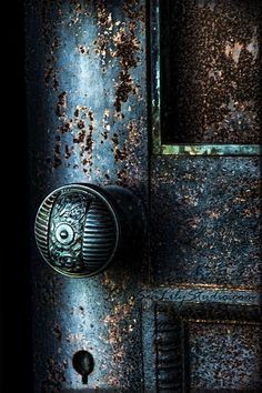 Secret Door 8x12 : cemetery photography blue door photo midnight gothic relic dark art nouveau teal blue green home decor. $30.00, via Etsy.