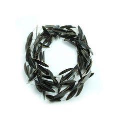 Hilde Janich Long Leaves Paths Collier Necklace 2015 Black wires and parchment L:25cm