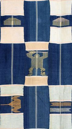 Africa | Detail from a Kente cloth from the Ewe people of Ghana | Cotton; Strip woven in blue, pale pink, yellow and grey, with supplementary motifs including scissors, hearts, fish, combs, crocodiles and hands