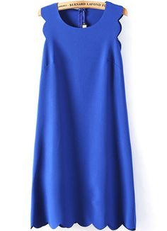 Vestido A Line Zigzag sin manga-azul 15.86 Sheinside