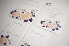 Classic Rose Flower Wedding Invitation Set of 4 by ThreeEggsDesign, $85.00