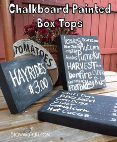 Used box lids covered in chalkboard paint : Chalkboard Painted Box Lids {Fall Decor} via StowandTellU.com