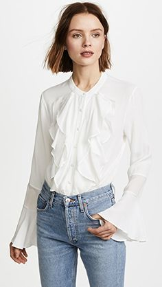 f2064db288cbf6 Ruffled Button Down Blouse (Posts by Denisee Denisee)