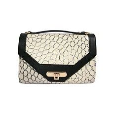 "Jess Rizzuti's ""Sophie Hard Baguette"" in Ivory & Black Turtle Croc Embossed Boho Bags, Wristlet Wallet, Baguette, Crocs, Louis Vuitton Damier, Crossbody Bag, Clutch Bags, Fashion Accessories, Black Leather"