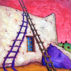"Bobby Lee Krajnik | ""Purple Shadows"" | 10 x 10 x 1.5"" | oil on linen Arte Popular, Dark Art, Color Combos, Bobby, Mexico, Bpd, Fine Art, Purple, Ladder"