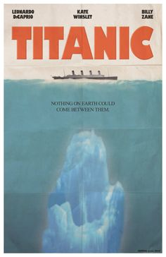 If only they had a bigger boat.   Seafaring blockbuster meets seafaring blockbuster with this Titanic movie poster done in the style of 1975's Jaws!