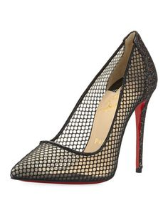 christian louboutin dorissima lace red sole pump black