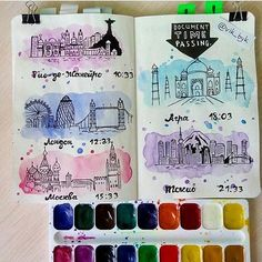 Wreck This Journal watercolor city skylines