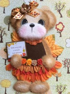 Autumn Flower Fairy Girl Tear Bear Premade Scrapbook ELITE4U 3paperwishes