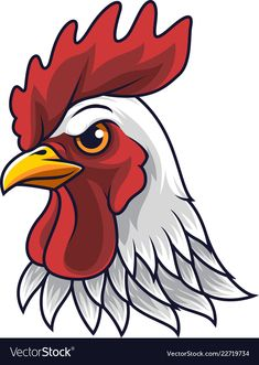 Chicken rooster head mascot vector image on VectorStock Chicken Logo, Cartoon Chicken, Chicken Art, Rooster Logo, Rooster Art, Cartoon Rooster, Bird Drawings, Easy Drawings, Animal Drawings