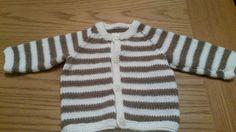 Stripy round necked baby cardi
